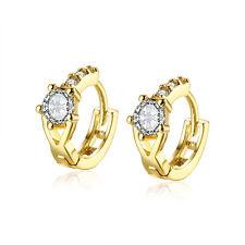 "18K Gold Plated Earrings Huggie Hoop AAA Zirconia Leverback .24"" L202"