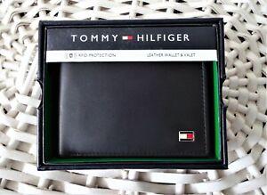 Men's Leather Pascase Wallet 'Tommy Hilfiger' Bifold 'OXFORD' Black, Credit Card