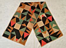 SCARF BALI VINTAGE AUTHENTIC 4COLORED GEOMETRIC ART BROWN SILK LONG WOMEN'S