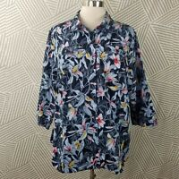 CJ Banks Plus size 2X 18/20 Top Floral Button Up shirt Hawaiian Tropical Luau
