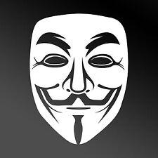 WHITE Guy Fawkes Maschera Anonima Finestra Auto Adesivo-protesta/occupano
