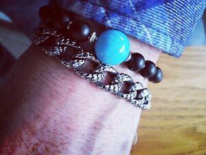 Bracelet perle bleu johnny hallyday