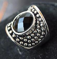 New Signed LIA SOPHIA Silvertone Black Rhinestone RESONATE Ring Size 5