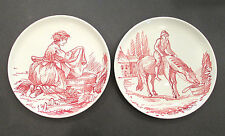 2 Hand Painted Italian Pottery Wall Decorative Plates Woman Washing Man w/Horse