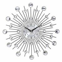 Wall Clock Metal Crystal Sunburst Design Home Art Decoration Modern Watch Clocks