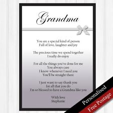 Grandma Gifts. Personalised Birthday Gifts for Grandmother.Keepsakes PRINT ONLY