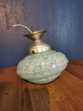 Suspension Abat Jour Plafonnier Vintage Verre Moucheté Clichy Vert Bleu Globe