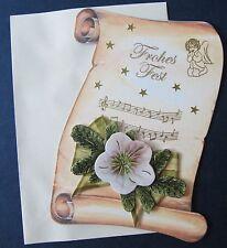 "3D-Weihnachtskarte Schriftrolle ""Frohes Fest"" Weihnachtsblume Jittenmeier QVC"