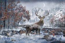 "Call of the Wild December Deer Digital Panel Hoffman Fabrics 28 x 42"" Q4460H-597"