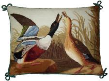 "12"" x 16"" Handmade Wool Needlepoint Petit Point Bird Wild Ducks Pillow"