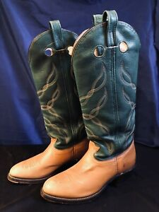 Aero Glide 7 Mens Leather Cowboy Boots  9.5D High Leg Pointed Toe