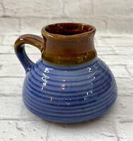 Vintage No Spill Non Slip Travel Wide Bottom Coffee Mug Cup Ceramic Blue Brown