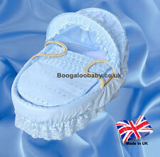 Blue Broderie Anglaise Replacement Moses Basket Dressing Bedding Covers + Rods
