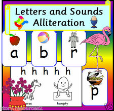 ALLITERATION Phonic Alphabet worksheets Letters & sounds phase 1 EYFS Resources