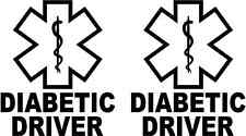 "DIABETIC DRIVER Alert 3"" set of 2 Decals Sticker Medical window windshield"