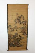 Altes großes Rollbild aquarellierte Druckgrafik Landschaft China