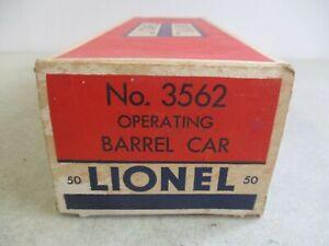 VINTAGE LIONEL NO. 3562 OPERATING BARREL CAR IN ORIGINAL BOX