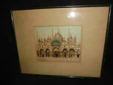Lithograph Colored Original San Marcos Square Italy Old Stretch Glass Orig Frame