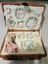 Childs China Tea Set Barnes & Noble 2003 Tea for 2 Doll IN WICKER LOCKING BASKET