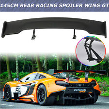 "Universal 57"" 145cm Black Carbon Fiber GT Car Rear Racing Wing Spoiler Bracket"