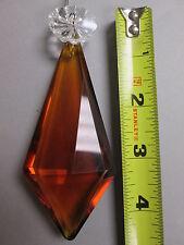 """Vintage Antique Crystal Prism 5 3/4"""" Amber Topaz Pendalogue Crystal Rosette"""