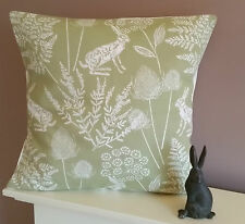 "New Hare Rabbit Cushion Cover Green 16""  Pillow- Sham Bunnys"