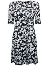 EX M&S Black Floral Print Half Sleeve Dress in Sizes 10, 16, 18, 20, 22