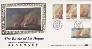 GB Stamps First Day Cover Alderney Battle of La Hogue, sail ship - Benham 1992