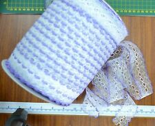 Iridescent Feather Edge Eyelet Lace 37mm Lilac White per 10 Metre Length