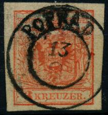 ÖSTERREICH 1850 3Kr, HP, Type III. FARBFELCK! POPRAD (Ungarn) Mü:60P!