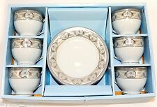 Fine Porcelain Teacups Tea Coffee Cups and Saucers Elegancy China Silver Key