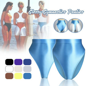 Lady Sexy Shiny Glossy Tight Shorts Highcut T-back Thongs Opaque Gym Sport Pants