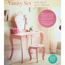 Childrens Kids Bedroom Amelia Vanity Bedside Table Stool & Mirror Set Pink
