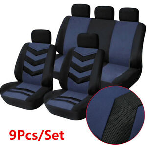 9pc Sports Breathable Auto Car Seat Cover Front Rear Seat Mat Pad Protector Blue