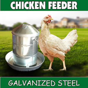 12kg Galvanized Steel Chicken Feeder Fowl Pen Poultry Coop Bird Aviary metal