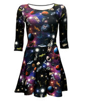 Women's Space Galaxy Space Ship Planets Angel Statues Skater Dress Alternative