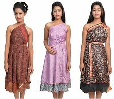 "5 Pcs Plus Size Two Layer Magic Wrap Around Skirt / Dress - Sariskirts 36"" XL"