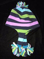 Girls Fleece Winter Hat Stripes Tassel Bottoms Top size 7 To About 12 Warm Cute