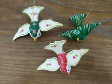 Lot of 3 Vintage Christmas Ornaments Wood Birds Holidays Green Red Ivory