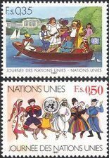 UN (G) 1987 United Nations Day/Building/Boat/Dancers/Costume 2v set (n45895)