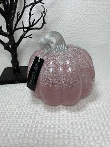 NEW Rachel Zoe Hand Blown Glass Fall Halloween Pumpkin Rose Pink & White Frosted