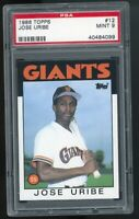 1986 Topps #12 Jose Uribe San Francisco Giants PSA 9 MINT SET BREAK!