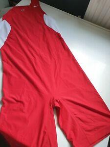 Nike Dryfit tech Grappler Wrestling cycling Singlet Men's compression suit Red