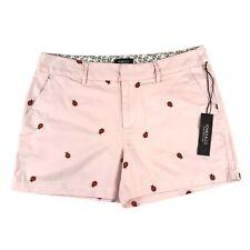 "JONES & CO Jones New York Women's Size 8 Pink Embroidered Ladybug 4"" Shorts NWT"