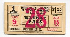 Penobscot Transportation Co. Bangor Maine Bus Pass/Ticket 02037 From 1950