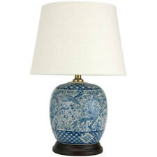 Porcelain Jar Table Lamp Shade Bedroom Indoor Home Classic Blue White 20-inch