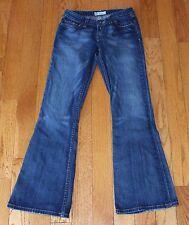 BKE Stretch Denim Premium Women's Jeans sz 27 Waist Flare Blue Distressed Buckle