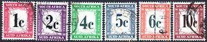 South Africa Postage Dues 1961 complete decimal set, SG.D45/50, used, cat.£38