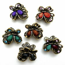 """Lot of 6 Small 1"""" Gold Black Purple Teal Brown Coral Stone Hair Claw Jaw Clips"""