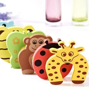 5Pcs Kid Finger safety protector Animal infant foam door stoper jammer guard P5A